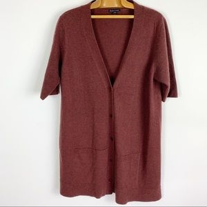 Eileen Fisher cashmere S/S cardigan sweater rust